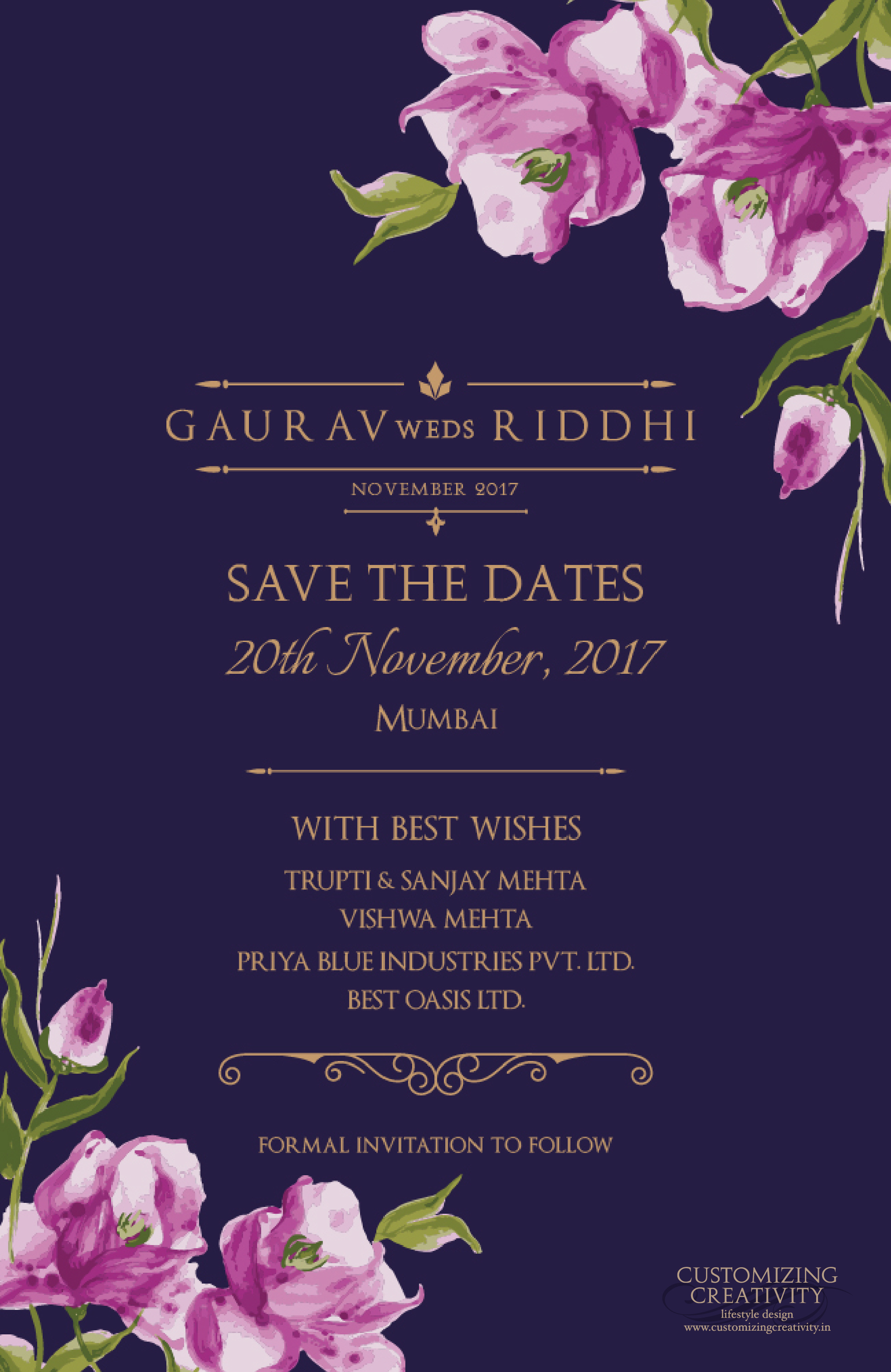 Save the date wedding invite